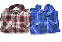 Faded Glory Kids Boys Size Small 6-7 Long Sleeve Plaid Button Up Shirts Lot of 2