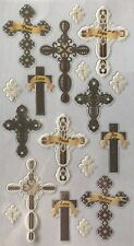 Inspirational Words & Crosses Silver Foil Stickers(18pc)Sticko•Re ligious•Church