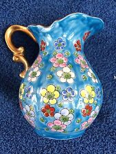"""Blue Porcelain Pitcher With Hand Painted Spring Flowers & Gold Trim ~5 1/2"""" Tall"""