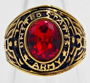 MEN RING RUBY STAINLESS STEEL YELLOW GOLD US SOLDIER MILITARY ARMY EAGLE SIZE 9