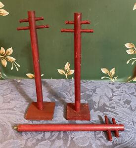 Rare Vintage Wooden Telephone Poles Putz House Villages Christmas Villages Lot 3