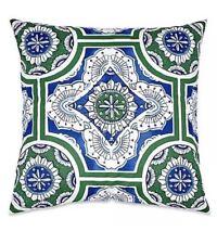 Real Simple Sutton European Euro Pillow Sham Blue White Green Purple Cotton Nwt