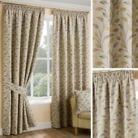 Ochre Lined Curtains Beige Leaf Tape Top Ready Made Pencil Pleat Curtain Pairs