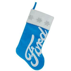 "16"" Blue and White Ford Decorative Christmas Stocking w"