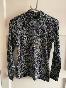 Ladies Marks And Spencer M&S Navy Mix Floral Fitted High Neck Top New Uk 6