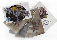 6 BELLES CPA cartes postales anciennes fleurs  violettes bouquets