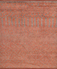 Moroccan Beni Ourain Rug, 8'x10', Red/Grey, Hand-Knotted Wool Pile