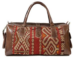 Leather Travel Weekend Bag, Kilim Travel Bag, vintage carpet, unisex, Brown