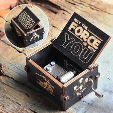 Star Wars Hand Crank Music Box Wooden Engraved Handmake Kids Birthday Toy Gift
