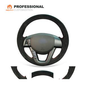 DIY Black Synthetic Suede Car Steering Wheel Cover for Kia K5 Optima 2011-2013