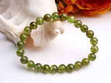 Natural Green Peridot Genuine Gemstone Round Beads Bracelet 7.5mm AAA