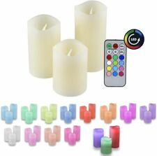 IOIO LED Echtwachs Kerzen 3er Set farbwechsel RGB Fernbedienung Effekt Candle