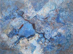 BARBARA DOYLE (B.1917) ORIGINAL MODERN BRITISH OIL PAINTING - BLUE ABSTRACT