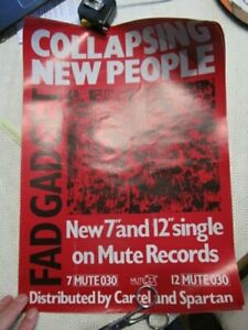 rare promotional sales poster record fad  gadget