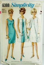 Simplicity 6388 Vtg Sewing Pattern Sz 14 Bust 34 Jr Miss Dress Coat Sleeveless