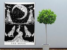 White The Moon Wolf Modern Classy Nature Wall Poster Tapestry Door Hanging Decor