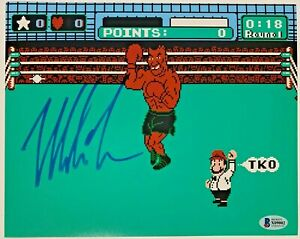 Mike Tyson Signed 8x10 Punch Out Photo Autographed Beckett BAS COA