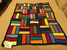 Handmade Afghan Throw / Blanket - From Designer Collection - Crazy Patches
