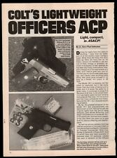 1992 COLT Officers ACP Lightweight  .45 ACP Pistol 4-page Evaluation Article