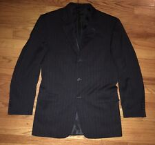 BURBERRY LONDON MENS 3-BUTTON DARK GREY WHITE PINSTRIPED SPORTS COAT BLAZER 42L