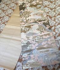 JAPANESE SILK KIMONO  VINTAGE FUKURO OBI TREE MAPLE TEMPLE PINE