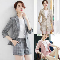 Fashion Spring Women Plaids Suit Blazer Slim One Button Formal Work Coat Jacket