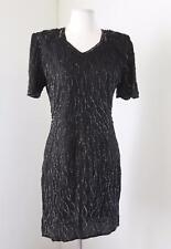 Vtg 90s Black Silk Beaded Sequin Cocktail Evening Dress Size M Retro Party