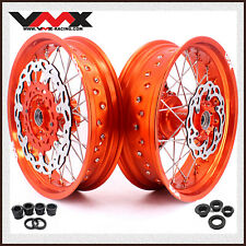 "VMX 17"" Cush Drive Supermoto Wheel Rim Fit K*M690 SMC 2008-2011 Disc Orange Rim"