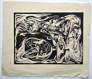 Frank Armitage Signed Modernist Woodcut  Disney Artist
