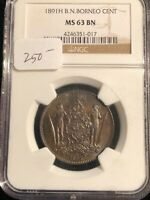 Borneo 1891 H B N Large Cent NGC MS 63 BN Brown One Cent Coin Rare