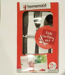 3 Pc Kids Stainless Steel Dinner Cutlery Set Child Spoon Fork Knife Xmas GIft
