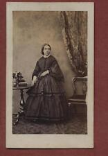 Lady standing table dress Victorian fashion    CDV Photograph bf.144