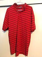 Vintage Bugle Boy Company Short Sleeve Polo Shirt Red Striped Mens Size XL