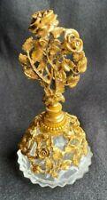 SIGNED VINTAGE MATSON GOLD FILIGREE ORMOLU ROSE FLOWER PERFUME BOTTLE GLASS