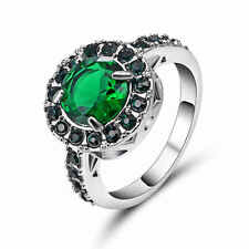 Trendy Jewelry Green Emerald 18K White Gold Filled Vintage Party Ring Size 9