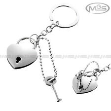 Key Chain Engravable Love Heart Real Working Lock Silver Ring Gift