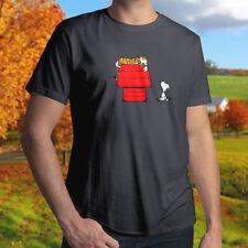 Calvin Hobbes Peanut Snoopy House Crossover Mens Unisex Crew Neck Tee T-Shirt