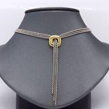 3 Strand Box Chain Lariat Necklace David Yurman 18k Gold Sterling Silver Cushion