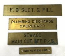 "Lot of 4 Vintage Brass Navel Ship Plaque Placard Label Plates 3"" LOT #11"