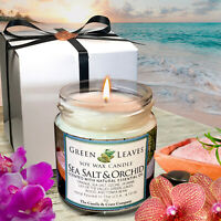 Handmade Soy Candle Sea Salt And Orchid, Aromatherapy Candle 4oz Amazing Scent!