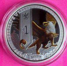 2013 Tuvalu Plata criaturas míticas-Griffin $1 dólar moneda de prueba Caja + certificado De Autenticidad