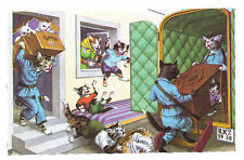 Mainzer postcard Dressed Cats moving furniture # 4923 scalloped edges