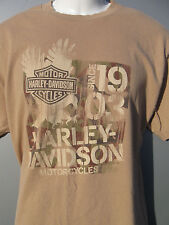 Wild Fire Harley Davidson of Villa Park Illionis beige 2 sided t shirt sz Large