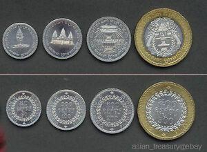 KINGDOM OF CAMBODIA 1994 COMPLETE 4 COIN SET WITH BIMETALLIC 50 - 500 RIELS UNC