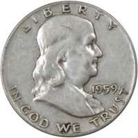 1959 50c Franklin Silver Half Dollar US Coin Average Circulated