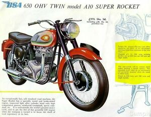 Vintage BSA 650 Super Rocket - Motorcycle Advertising Poster Art Repro Print A4