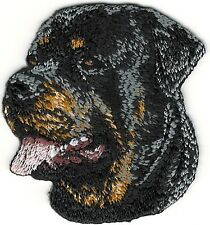 "1 7/8"" x 2"" Rottweiler Dog Breed Portrait Facing Left Embroidery Patch"