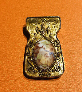 Vintage Florenza Gold Plated Cameo Money Clip