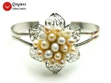 Natural Rice White & Pink Pearl Flower Silver Plate Open Cuff Bracelet Jewelry