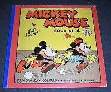 Mickey Mouse Book No. 4 by Walt Disney - 1934 Rare, Great Condition. David McKay